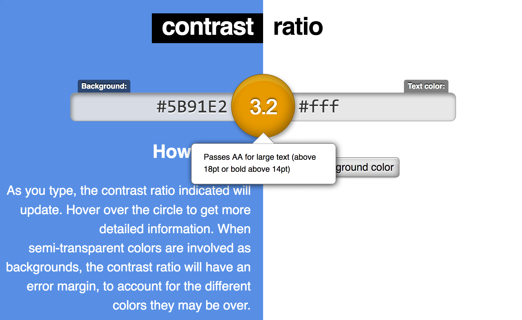 Contrast ratio interface screenshot, two input boxes for colors and a digit between them displaying the contrast measurement.