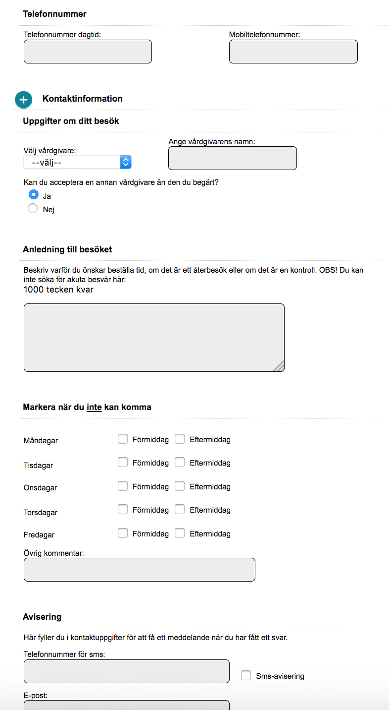 Form for booking health care. Screenshot, swedish.