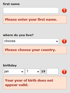 Error messages below form fields.