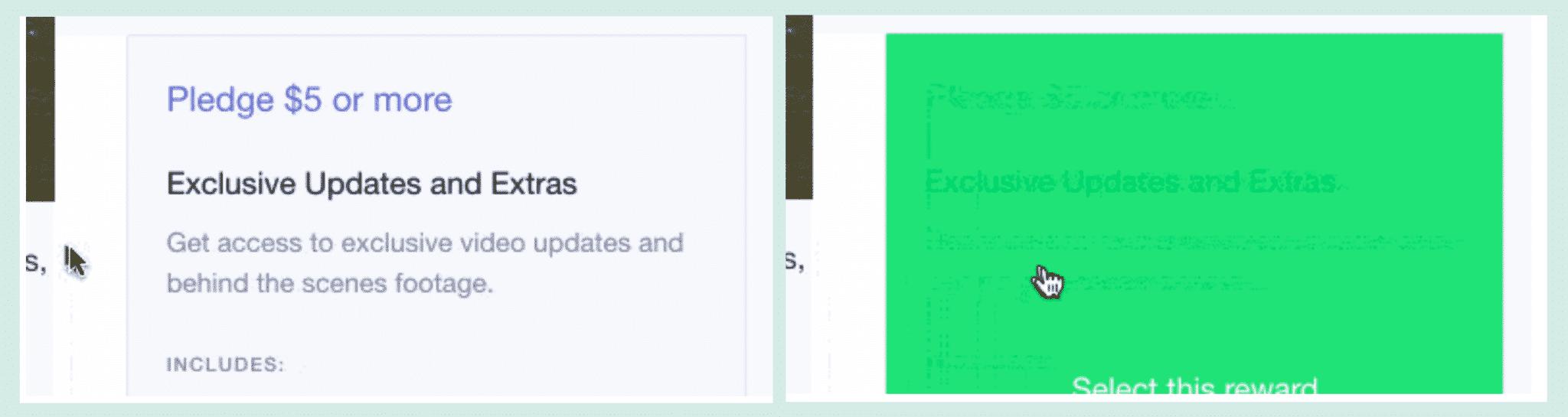 Poor hover contrasts on Kickstarter Pledge page.