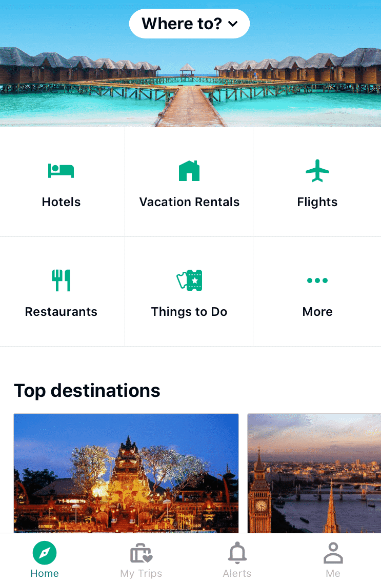 Tripadvisor app startpage. Icons with text labels in menu and on content of page. Screenshot.
