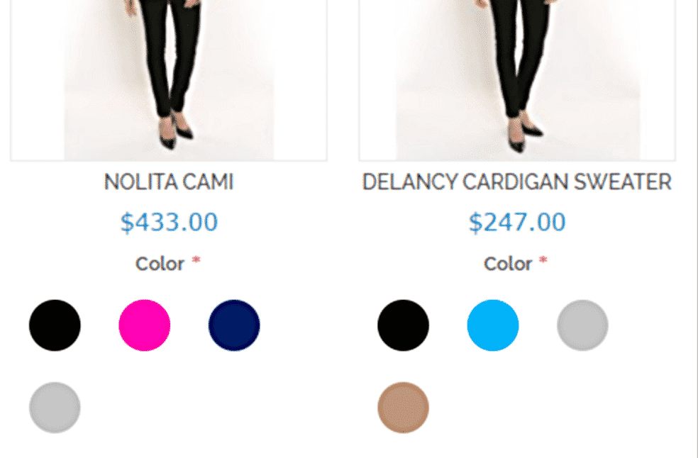 Color pickers without labels on clothing site.