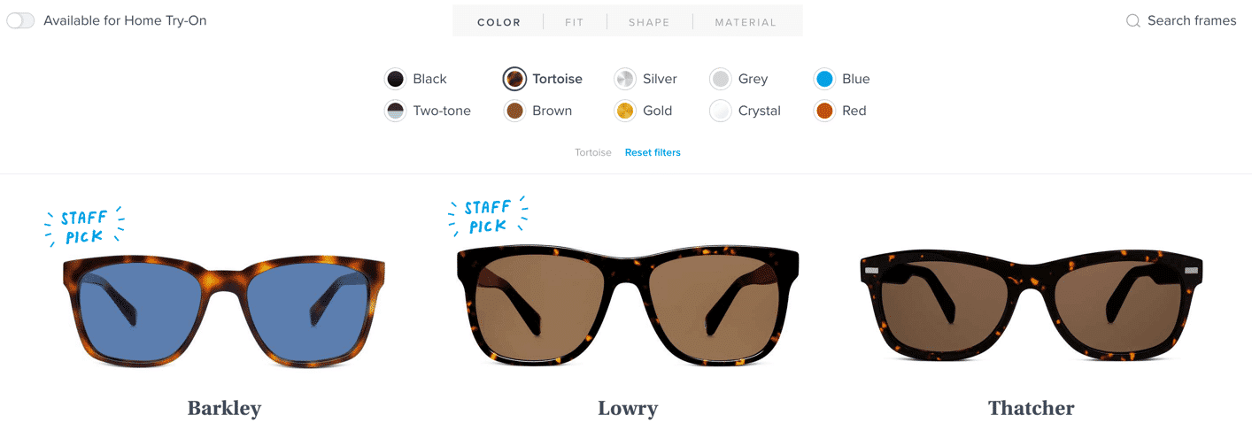 Labels by the names of colors on a sunglass site.