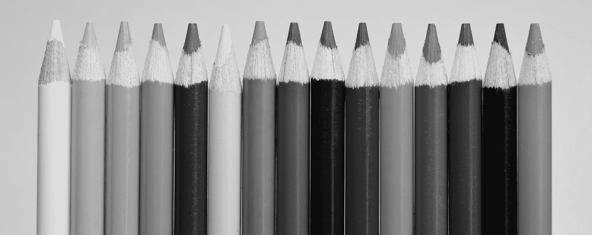 Colored pencils, all in grayscale